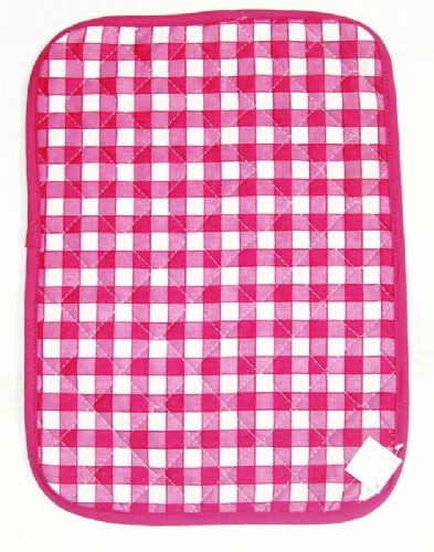 PINK COLOUR CHECK COTTON QUILTED TABLE PLACE MAT